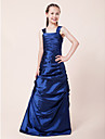 Floor-length Taffeta Junior Bridesmaid Dress - Royal Blue A-line / Princess Straps