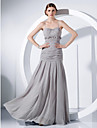 TS Couture® Formal Evening / Military Ball Dress - Open Back Plus Size / Petite Sheath / Column Spaghetti Straps Floor-length Chiffon withFlower(s) /