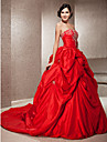 Ball Gown Plus Sizes Wedding Dress - Ruby (color may vary by monitor) Chapel Train Strapless Taffeta