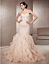 Fit & Flare Plus Sizes Wedding Dress - Champagne Court Train Sweetheart Lace/Organza