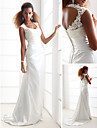 Lan Ting Sheath/Column Plus Sizes Wedding Dress - Ivory Sweep/Brush Train Scoop Charmeuse