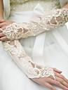 Elbow Length Fingerless Glove Satin Bridal Gloves Spring / Summer / Fall / Winter Sequins / Beading