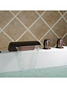 Traditional Roman Tub Waterfall / Handshower Included with  Ceramic Valve Three Handles Five Holes for  Oil-rubbed Bronze , Bathtub Faucet