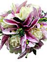 """Bouquets de Noiva Redondo Rosas Buques Casamento Roxo Cetim Roxo 11.02""""(Aprox.28cm)"""