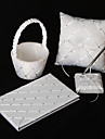4 Collection Set White Ring Pillow / Flower Basket / Guest Book / Pen Set