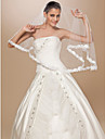 Wedding Veil One-tier Elbow Veils Lace Applique Edge 62.99 in (160cm) Tulle White / Ivory / Red / ChampagneA-line, Ball Gown, Princess,