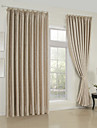 Neoclassical Two Panels Solid Beige Living Room Rayon Curtains Drapes