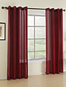 Modern Dining Room Solid Red Two Panels Sheer Curtains Shades