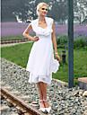 guaina Lanting / colonna capestro abito da sposa di chiffon al ginocchio