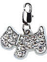 Chat / Chien Etiquettes Strass / Style Dessin Anime Argent Metal
