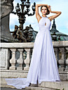 TS Couture® Formal Evening Dress - White Plus Sizes / Petite A-line / Princess Jewel Floor-length / Watteau Train Chiffon