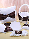 Wedding Collection Set In White Satin With Brown Sash (5 Pieces)