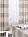Mediterranean Two Panels Plaid/Check Tartan Beige Bedroom Linen  Cotton Blend Curtains Drapes
