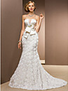 Lanting Bride Trumpet/Mermaid Wedding Dress-Chapel Train Strapless Chiffon / Satin / Tulle
