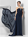 TS Couture® Formal Evening / Military Ball Dress - Dark Navy Plus Sizes / Petite Sheath/Column Halter Sweep/Brush Train / Watteau Train Chiffon