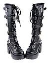 Chaussures Gothique Fait a la Main Talon haut Chaussures Couleur Pleine 8 CM Noir Pour Femme Cuir PU/Cuir polyurethane