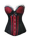 Svart och röd satäng Gothic Lolita Bustier korsett med spets