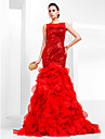 TS Couture Prom / Formal Evening Dress - Ruby Plus Sizes / Petite Trumpet/Mermaid Bateau Court Train Sequined / Organza
