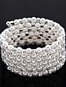 Exquisite Ladies\' Rhinestone Strand/Tennis Bracelet In White Pearl