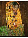 Kyssen av Gustav Klimt Famous Sträckt Canvastryck