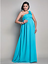 Floor-length Chiffon Bridesmaid Dress - Pool Maternity Sheath/Column One Shoulder