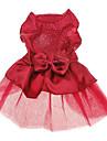 Chien Robe Rouge Bleu Vetements pour Chien Ete Printemps/Automne Couleur Pleine Paillettes Mariage Vacances Mode