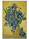 Vase d\'iris sur un fond jaune, 1890 par Vincent Van Gogh celebre toiles tendues