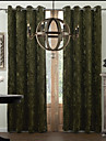 Neoclassical Two Panels Solid Green Living Room Polyester Panel Curtains Drapes
