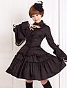 Tenue Gothique Lolita Cosplay Vetrements Lolita Noir Couleur Pleine Manches longues Moyen Chemisier Jupe Pour Femme Coton