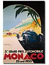 Impresso Canvas Art Vintage Grandprix Automovel de Monaco 1933 por Colecao Vintage da Apple, com quadro esticado