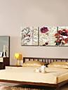 beige blommig modern stil väggklocka i canvas 3st