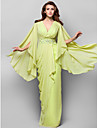 Kappe / Kolonne V-hals - Formell Aften/Militaerball Dress - Limegroen Gulvlengde Chiffon Plus Sizes