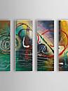 Hand målad oljemålning abstrakt uppsättning 4 1307-AB0521