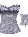 Elegant Silver Satin Classic Lolita Korsett