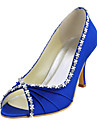 Women\'s Spring / Summer / Fall Peep Toe Satin / Stretch Satin Wedding Stiletto Heel Rhinestone Blue / Red / Ivory / White / Gold