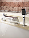 Bathtub Faucet - Contemporary - Handshower Included / Waterfall - Stainless Steel (Chrome)