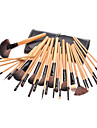 32PCS Wooden Handle Cosmetic Brush Set With Black Leather Pouch