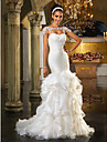Lan Ting Fit & Flare Plus Sizes Wedding Dress - Ivory Sweep/Brush Train Sweetheart Tulle/Organza