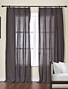 Modern Two Panels Solid Chocolate Living Room Linen  Cotton Blend Sheer Curtains Shades