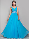 Formal Evening/Prom/Military Ball Dress - Pool Plus Sizes Sheath/Column V-neck Floor-length Chiffon