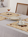 Set of 6 Placemats Floral Polyester