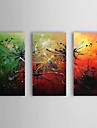 Hand målad abstrakt oljemålning med Sträckt Frame Set av 3 1309-AB0946