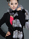 Fur Vest With Long Sleeve Collarless Rabbit Fur And Fox Fur Party/Casual Vest