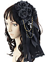 Handgjord Mörk Rose Black Lace Bomull Gothic Lolita Headpiece med Cross