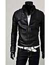 Angleterre Style DAYD Hommes pied de col en cuir PU Manteau (accessoires de style, motif, taille, couleur aleatoire) (Noir)