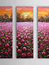 Hand Painted Oil Painting Floral Sunset with Stretched Frame Set of 3 1310-FL1122