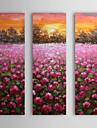 Dipinti a mano olio su tela Tramonto floreale con telaio allungato Set di 3 1310-FL1122