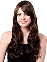 Capless Long Charming Synthetic Brown Curly Hair Wig Side Bang