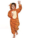 Kigurumi Pyjamas Tiger Leotard/Onesie Halloween Animal Sovplagg Orange Lappverk Flanell Kigurumi Barn Halloween