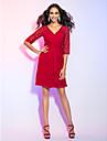 Cocktail Party / Holiday Dress - Ruby Plus Sizes / Petite Sheath/Column V-neck Knee-length Chiffon / Lace